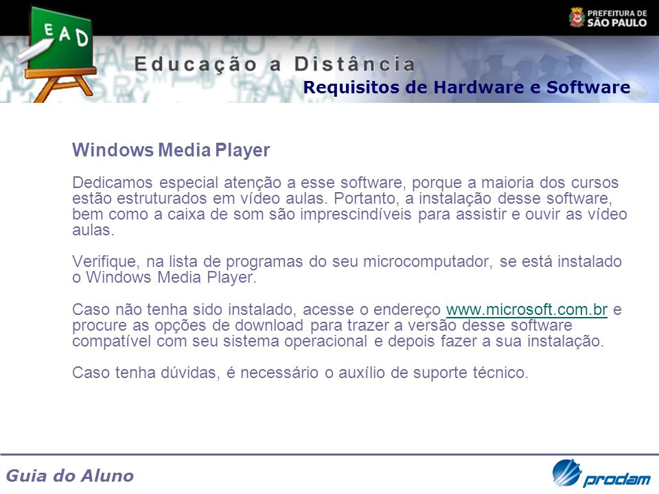 Windows Media Player Requisitos de Hardware e Software