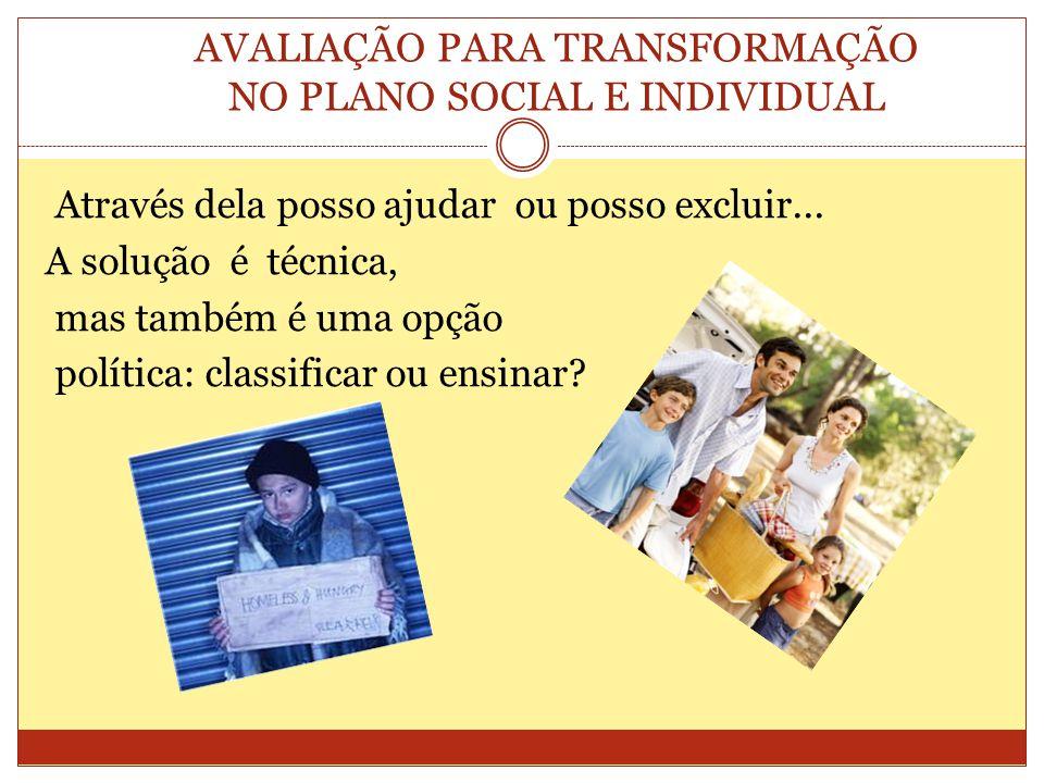 AVALIAÇÃO PARA TRANSFORMAÇÃO NO PLANO SOCIAL E INDIVIDUAL