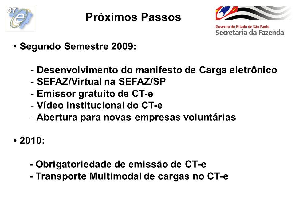 Próximos Passos Segundo Semestre 2009: