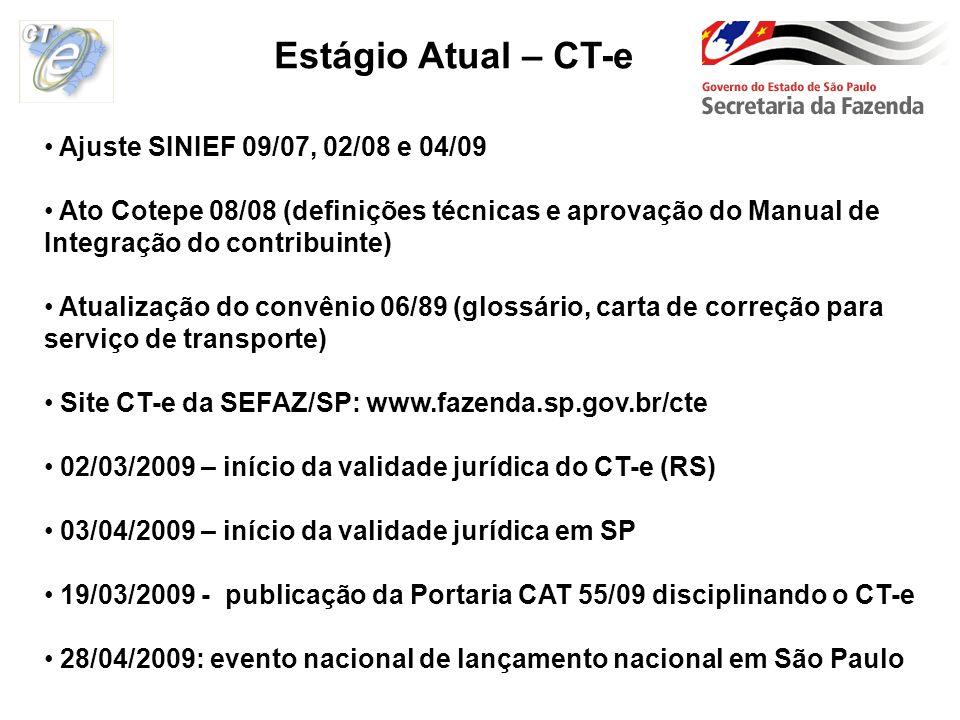 Estágio Atual – CT-e Ajuste SINIEF 09/07, 02/08 e 04/09