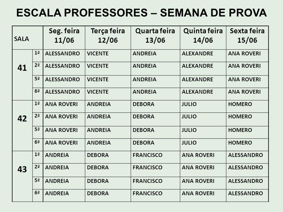 ESCALA PROFESSORES – SEMANA DE PROVA