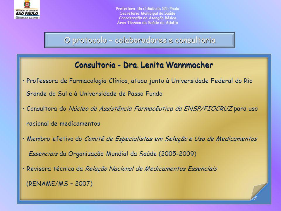 O protocolo – colaboradores e consultoria