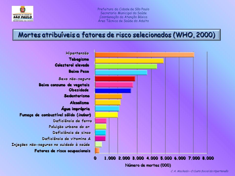 Mortes atribuíveis a fatores de risco selecionados (WHO, 2000)