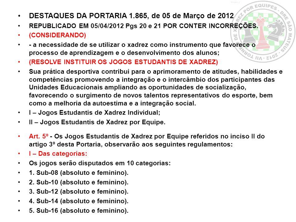 DESTAQUES DA PORTARIA 1.865, de 05 de Março de 2012