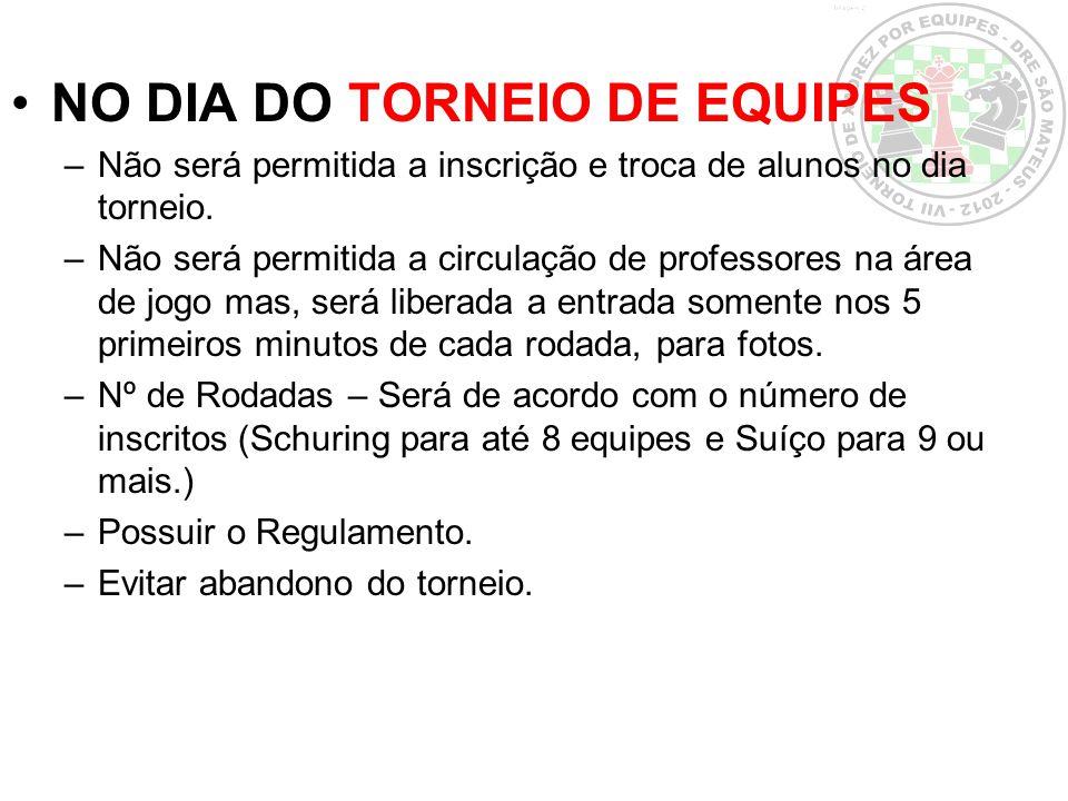 NO DIA DO TORNEIO DE EQUIPES