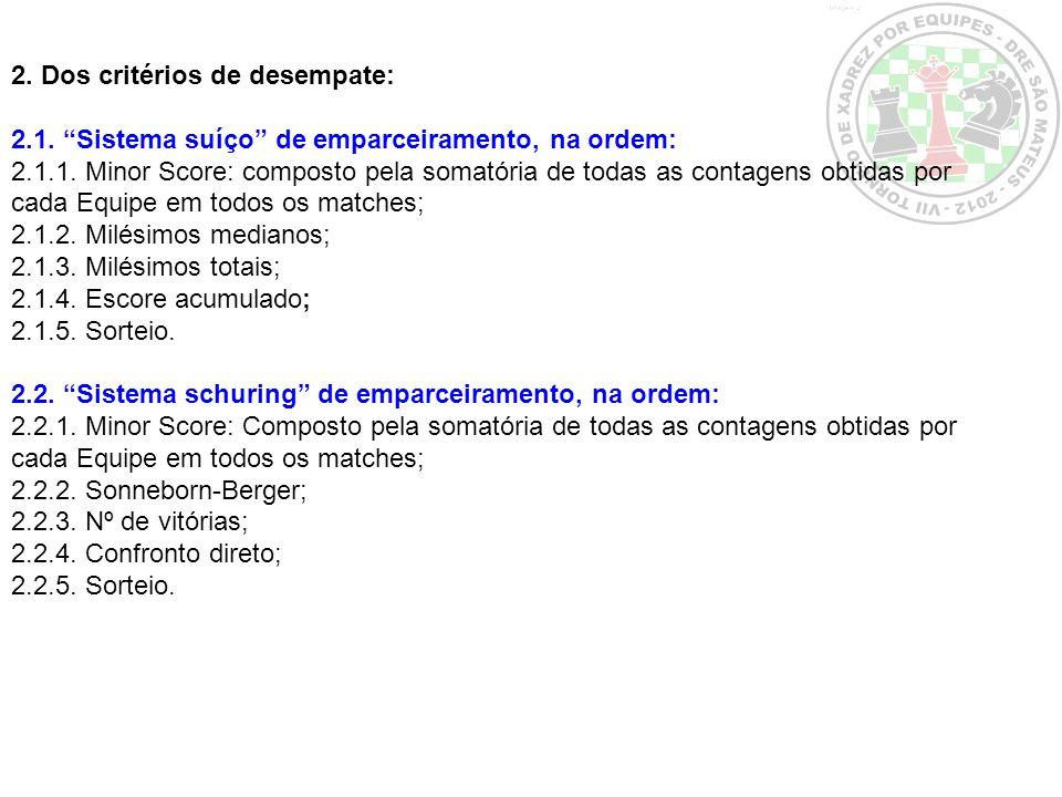 2. Dos critérios de desempate:
