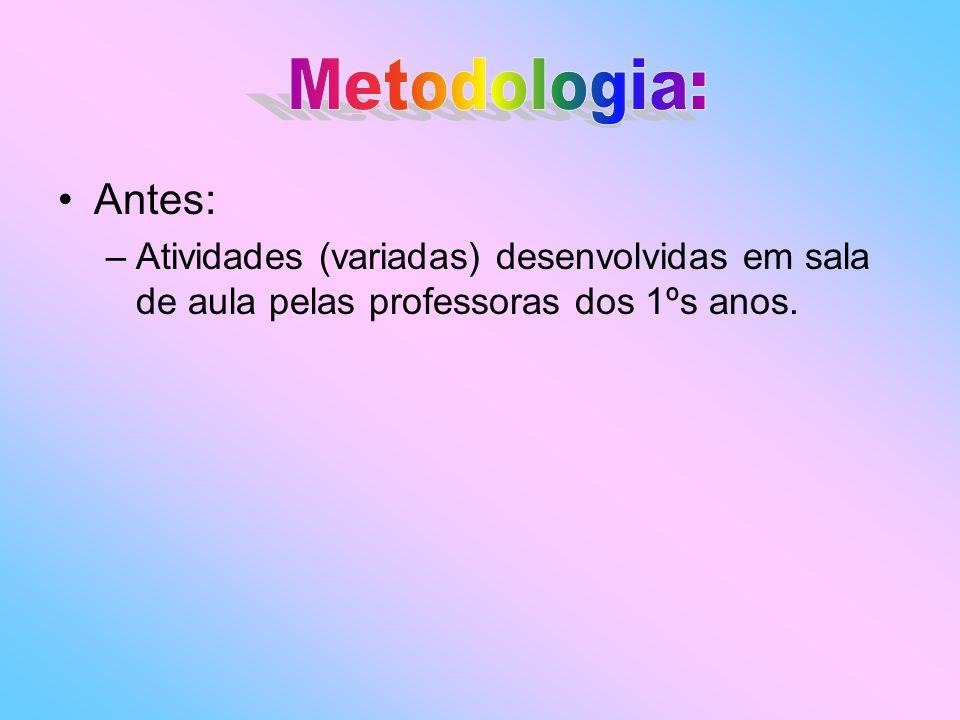 Metodologia: Antes: Atividades (variadas) desenvolvidas em sala de aula pelas professoras dos 1ºs anos.