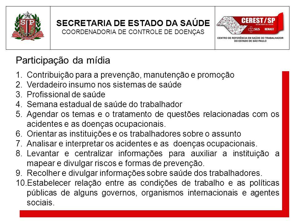 Participação da mídia SECRETARIA DE ESTADO DA SAÚDE