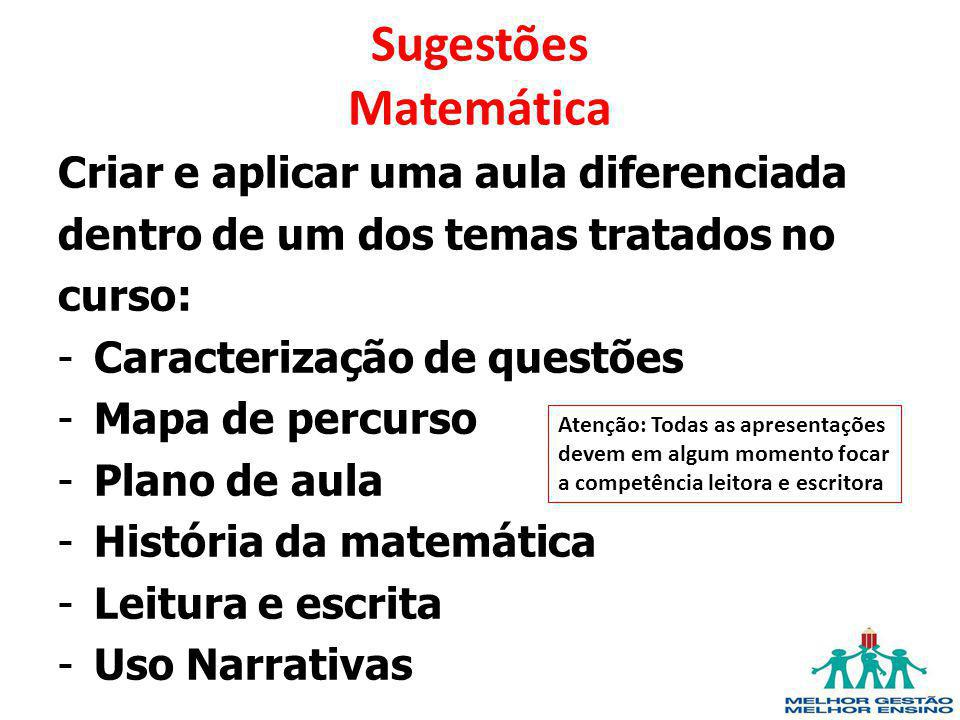 Sugestões Matemática Criar e aplicar uma aula diferenciada