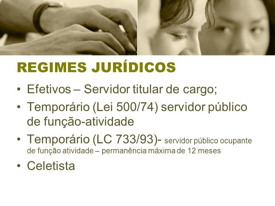REGIMES JURÍDICOS Efetivos – Servidor titular de cargo;