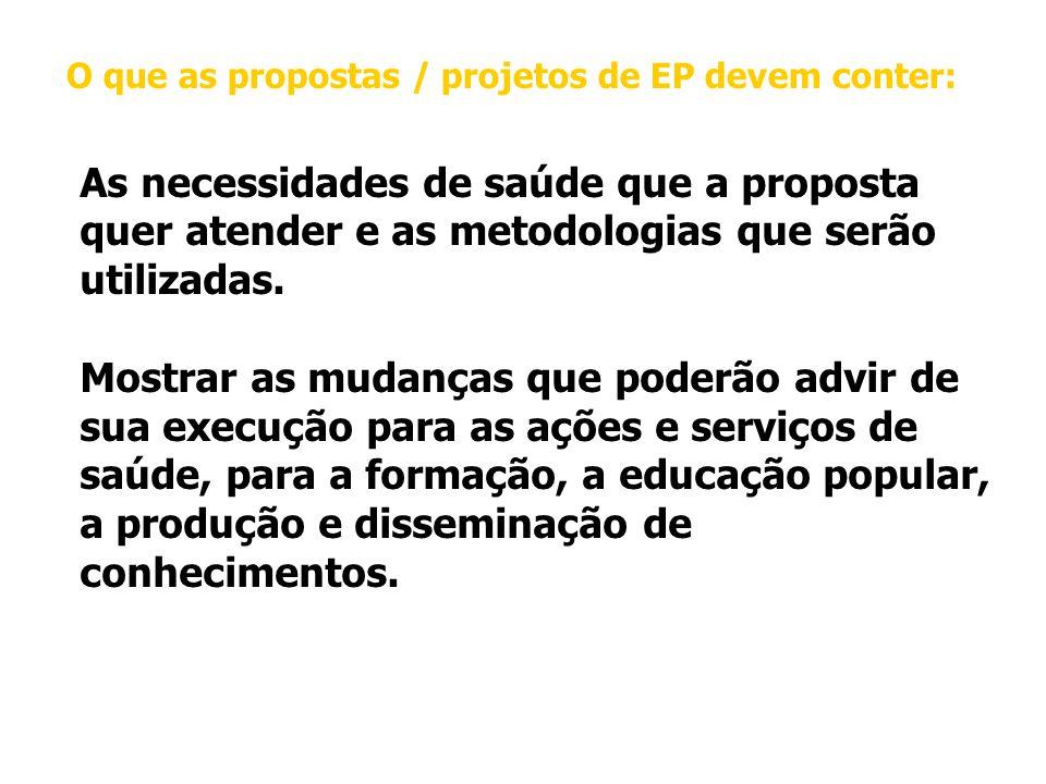 O que as propostas / projetos de EP devem conter: