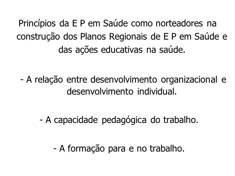 - A capacidade pedagógica do trabalho.