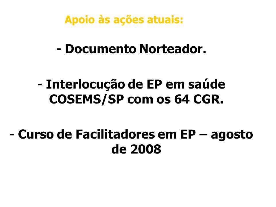 - Interlocução de EP em saúde COSEMS/SP com os 64 CGR.