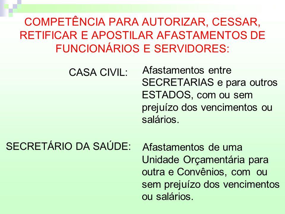 COMPETÊNCIA PARA AUTORIZAR, CESSAR, RETIFICAR E APOSTILAR AFASTAMENTOS DE FUNCIONÁRIOS E SERVIDORES: