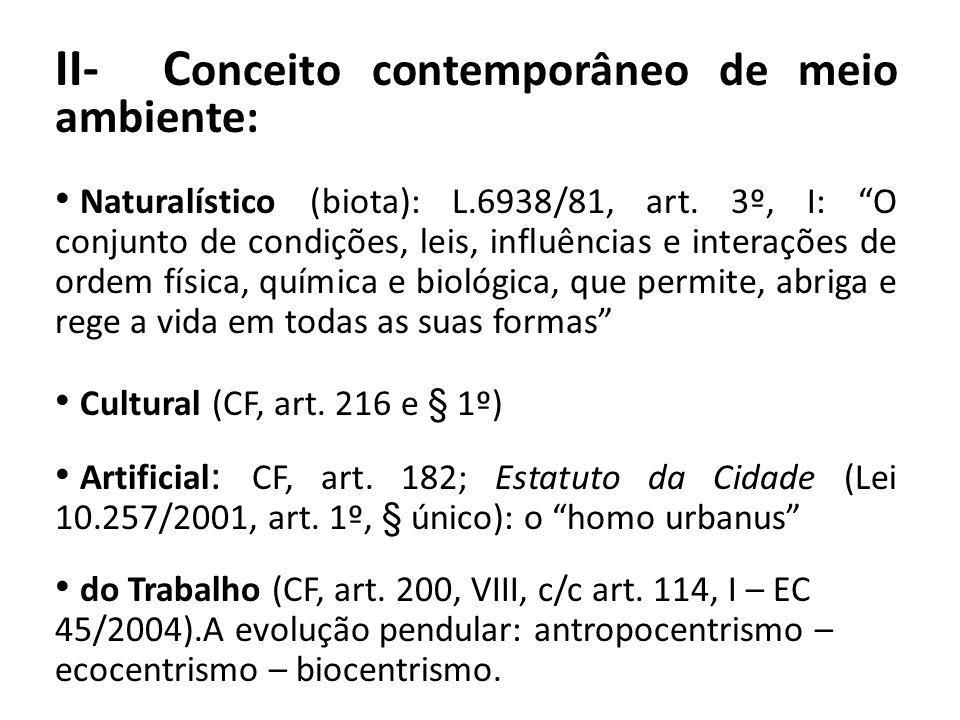 II- Conceito contemporâneo de meio ambiente: