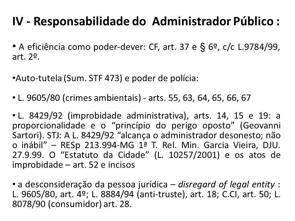 IV - Responsabilidade do Administrador Público :