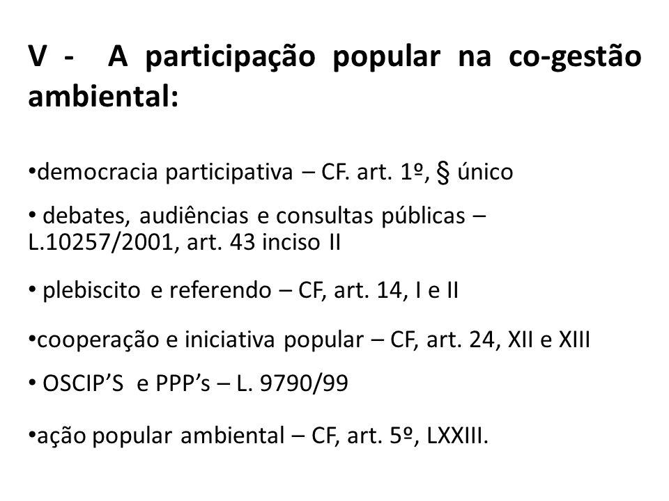 V - A participação popular na co-gestão ambiental: