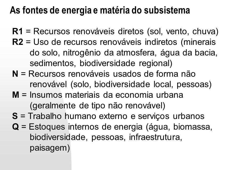 As fontes de energia e matéria do subsistema
