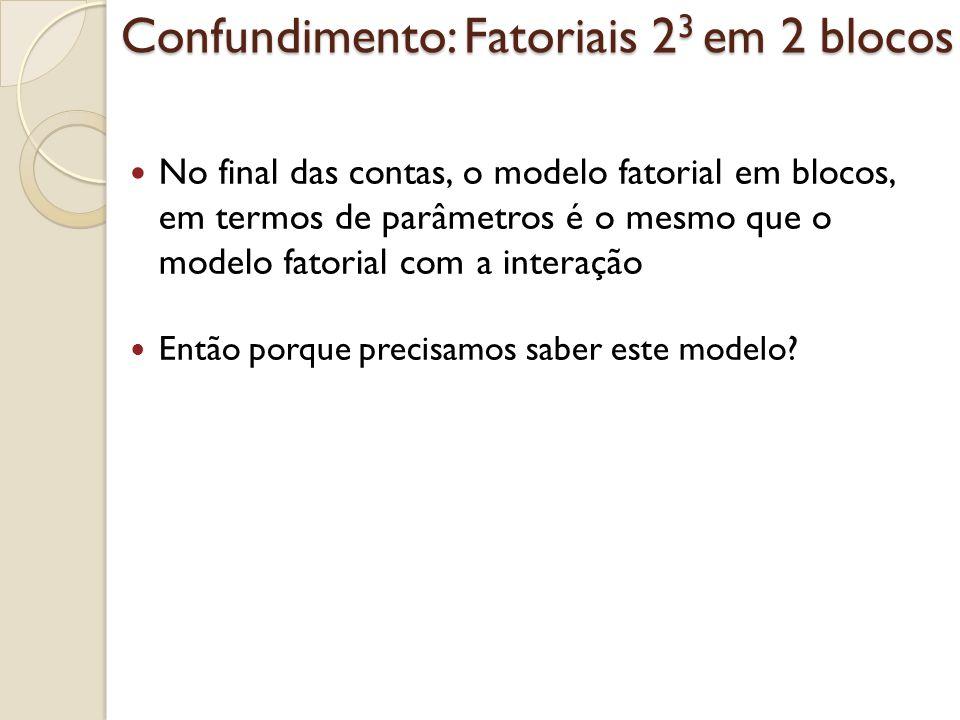 Confundimento: Fatoriais 23 em 2 blocos