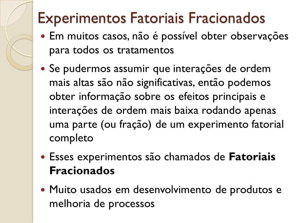 Experimentos Fatoriais Fracionados