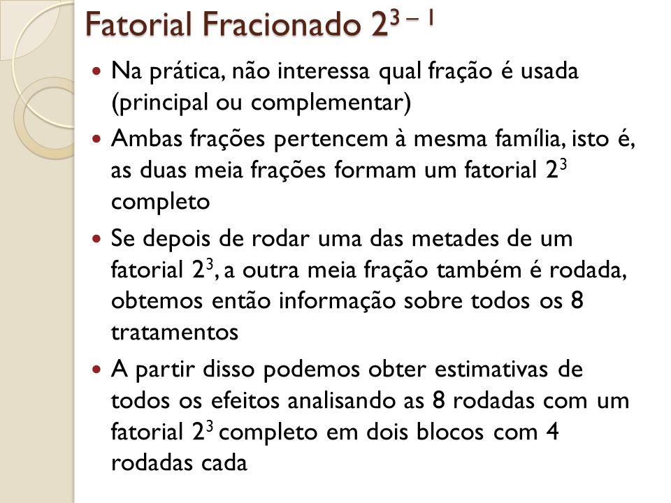 Fatorial Fracionado 23 – 1 Estimativas de todos os efeitos podem ser obtidas também através do seguinte: