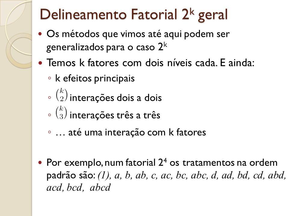 Delineamento Fatorial 2k geral