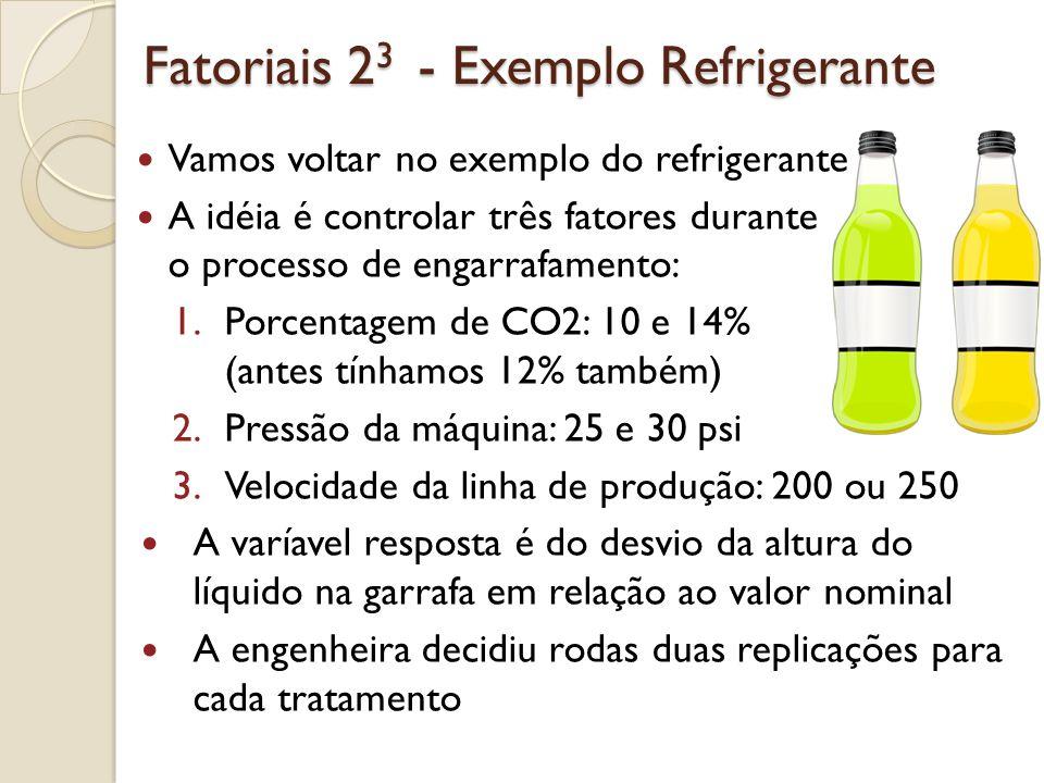 Fatoriais 23 - Exemplo Refrigerante