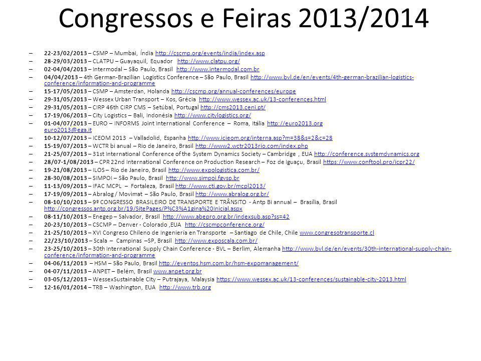 Congressos e Feiras 2013/2014 22-23/02/2013 – CSMP – Mumbai, Índia http://cscmp.org/events/india/index.asp.