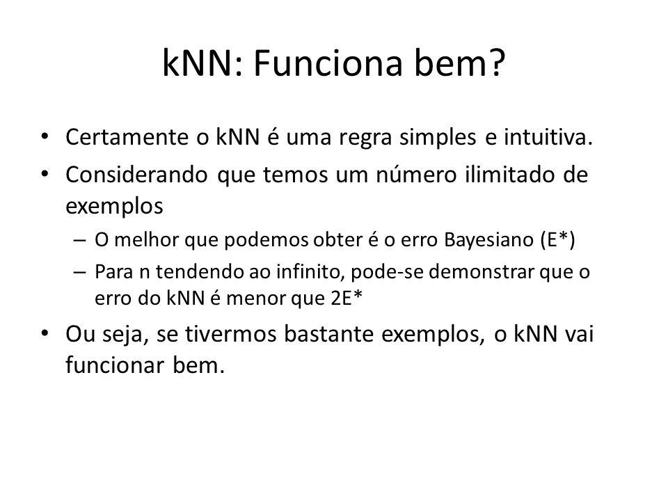 kNN: Funciona bem Certamente o kNN é uma regra simples e intuitiva.
