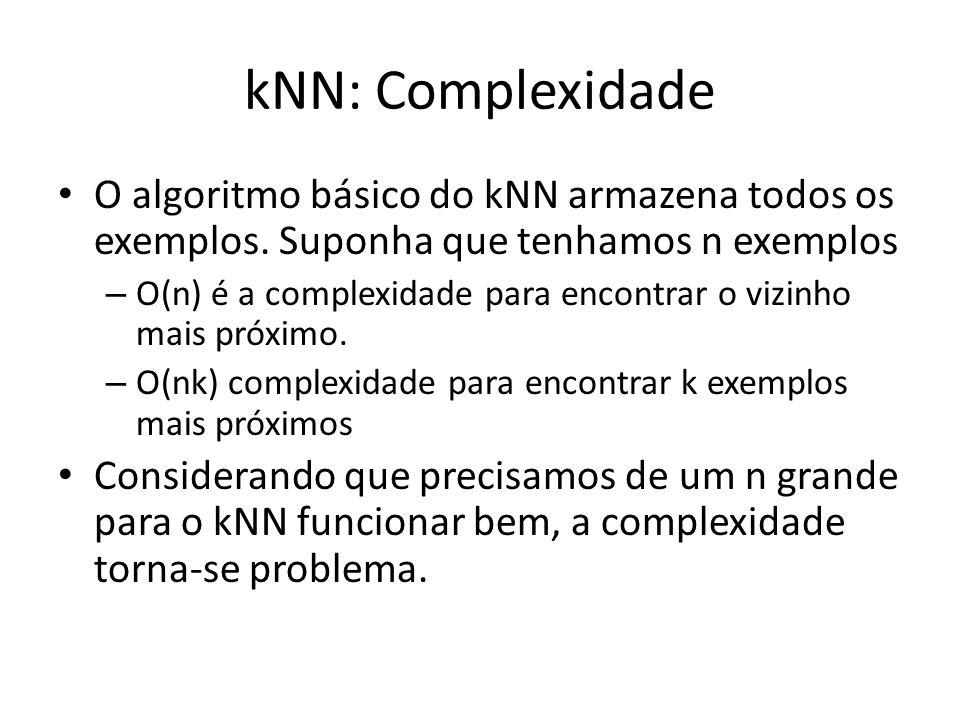 kNN: Complexidade O algoritmo básico do kNN armazena todos os exemplos. Suponha que tenhamos n exemplos.