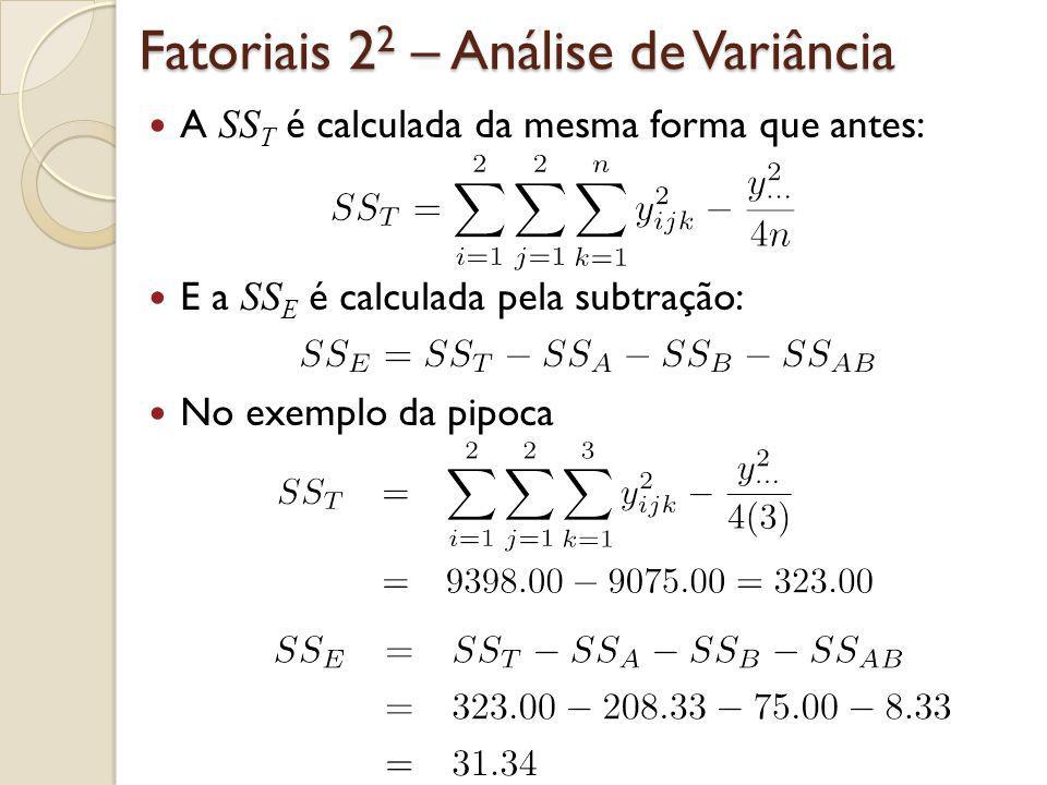 Exemplo – Pipoca Tabela ANOVA: