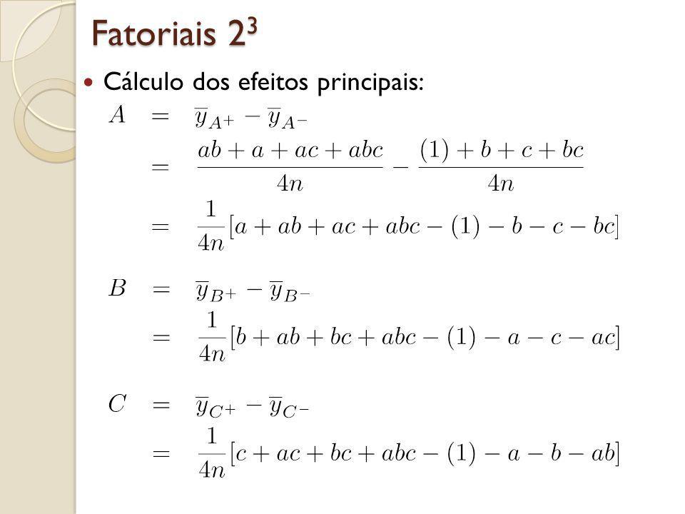 Fatoriais 23 Cálculo das interações de 1ª ordem (dois a dois):