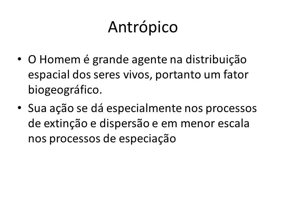 Antrópico O Homem é grande agente na distribuição espacial dos seres vivos, portanto um fator biogeográfico.