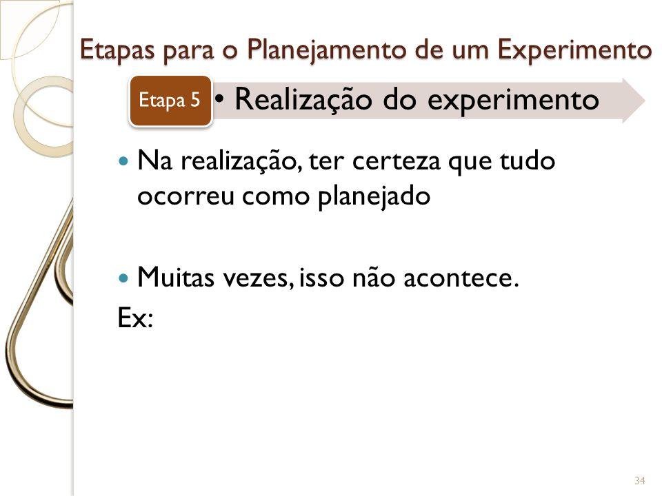 Etapas para o Planejamento de um Experimento