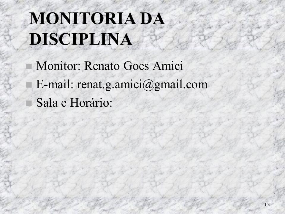 MONITORIA DA DISCIPLINA
