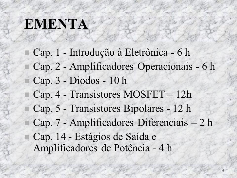 EMENTA Cap. 1 - Introdução à Eletrônica - 6 h