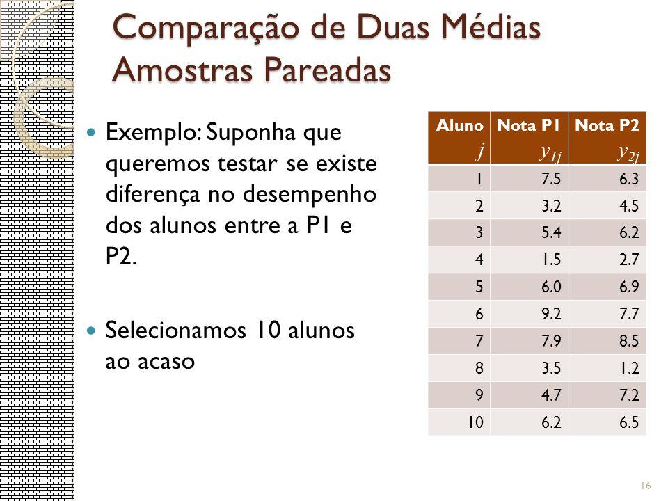 Comparação de Duas Médias Amostras Pareadas