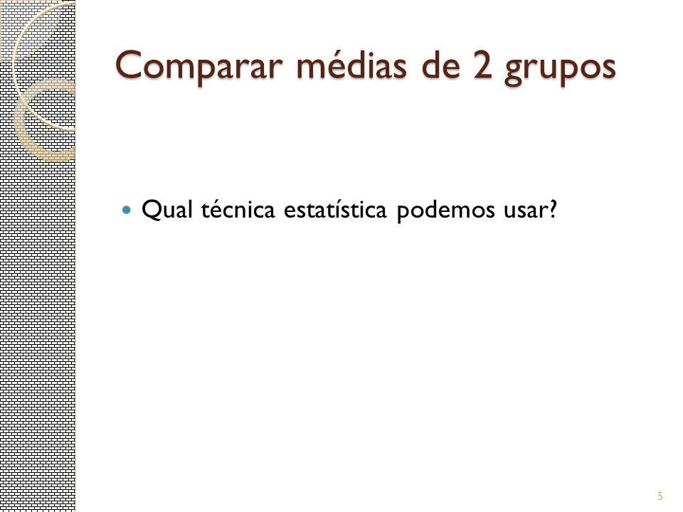 Comparar médias de 2 grupos