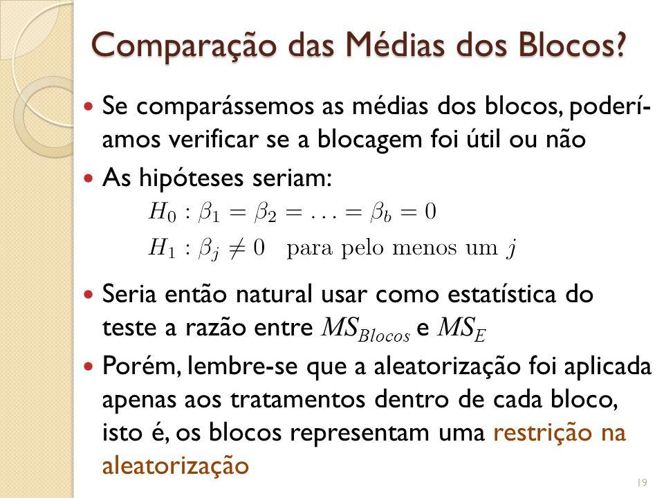 Comparação das Médias dos Blocos