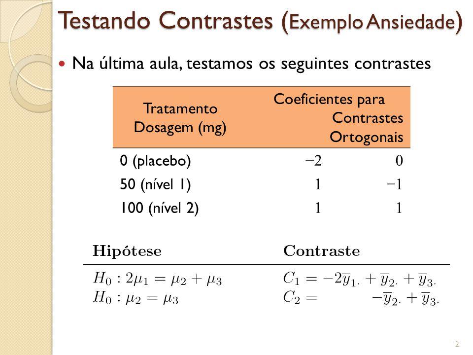 Testando Contrastes (Exemplo Ansiedade)