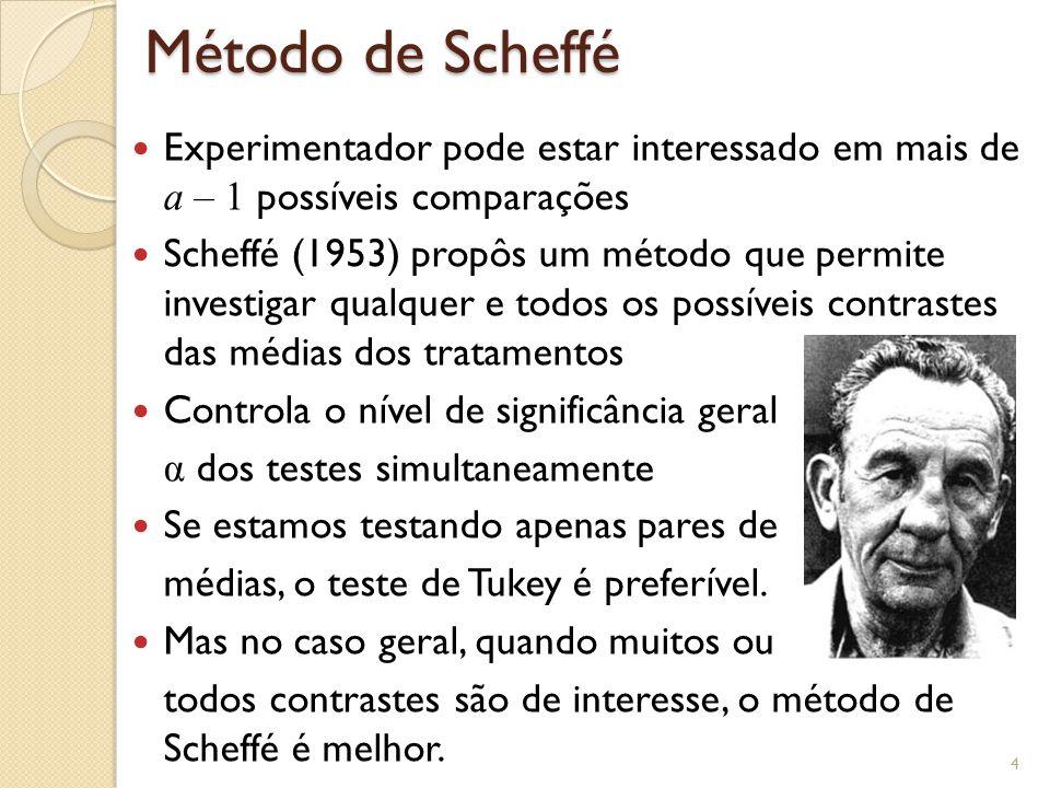 Método de Scheffé Experimentador pode estar interessado em mais de a – 1 possíveis comparações.