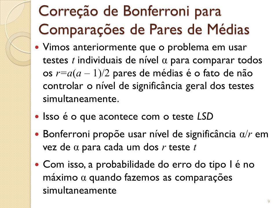 Correção de Bonferroni para Comparações de Pares de Médias