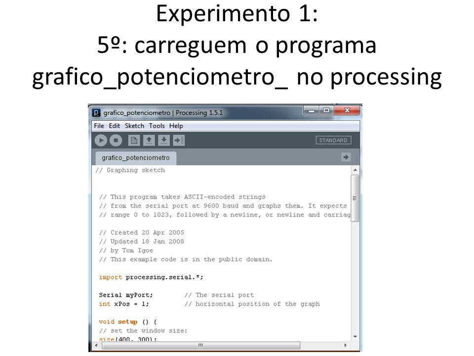 Experimento 1: 5º: carreguem o programa grafico_potenciometro_ no processing