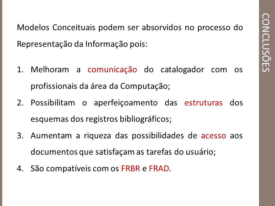 conclusões Modelos Conceituais podem ser absorvidos no processo do Representação da Informação pois: