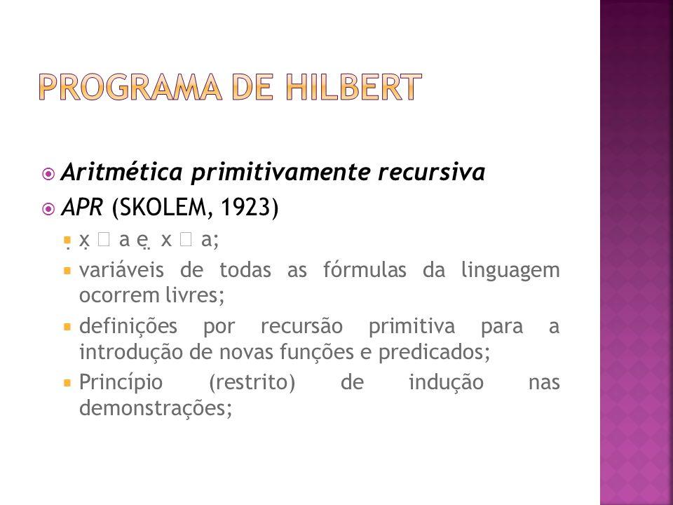 Programa de Hilbert Aritmética primitivamente recursiva