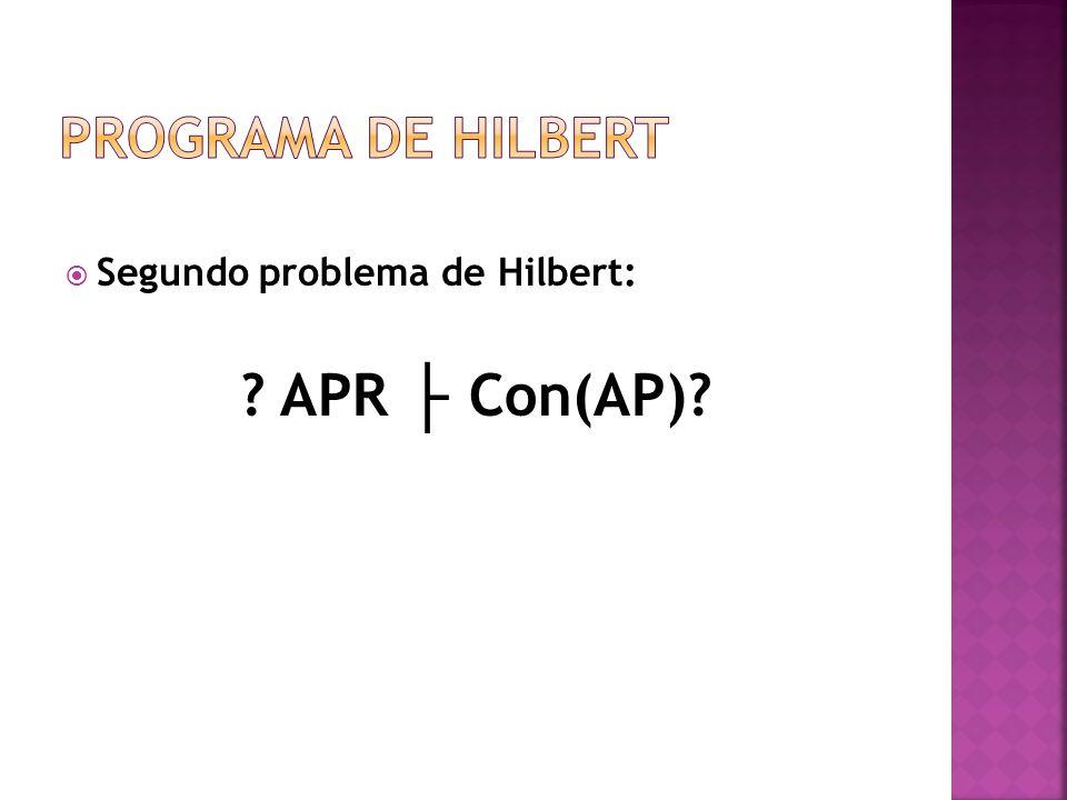 Programa de Hilbert Segundo problema de Hilbert: APR ├ Con(AP)