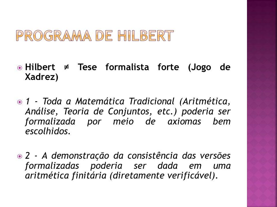Programa de Hilbert Hilbert ≠ Tese formalista forte (Jogo de Xadrez)