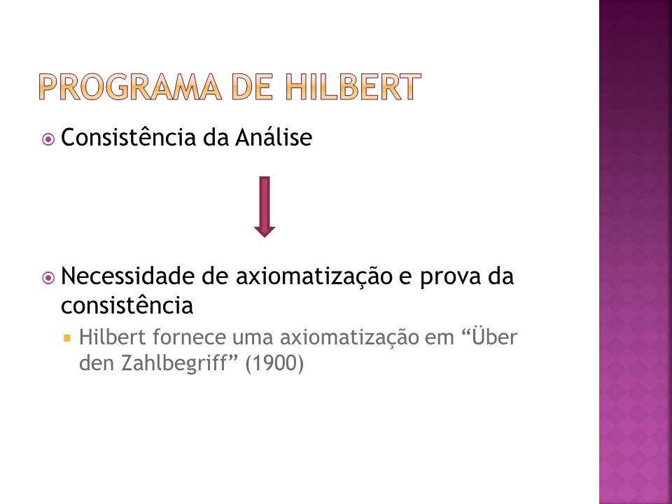 Programa de Hilbert Consistência da Análise