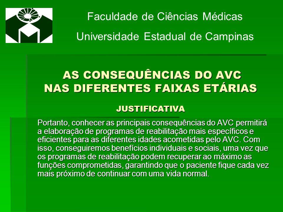 AS CONSEQUÊNCIAS DO AVC NAS DIFERENTES FAIXAS ETÁRIAS JUSTIFICATIVA