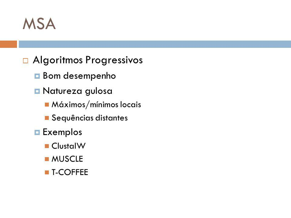 MSA Algoritmos Progressivos Bom desempenho Natureza gulosa Exemplos